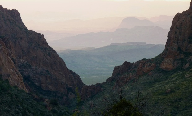 We are on the edge of Texas, looking through the Window of the Chisos Mountains into the mountains of Mexico.
