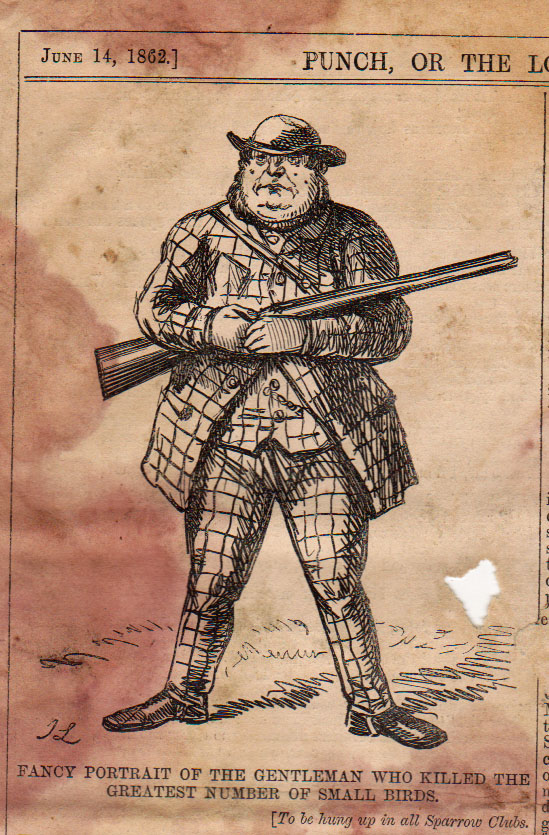 Caption: Fancy Portrait of the gentleman who killed the greatest number of small birds. From the June 14, 1862 Punch.