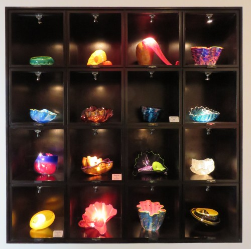 A display of small pieces from the Chihuly Gallery in Las Vegas.