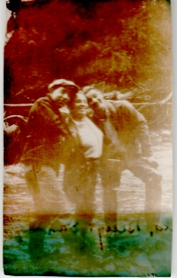 1937, three people at Montana Creek, Alaska
