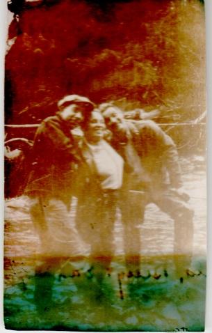 1937, three people at Montana Creek, Alaska