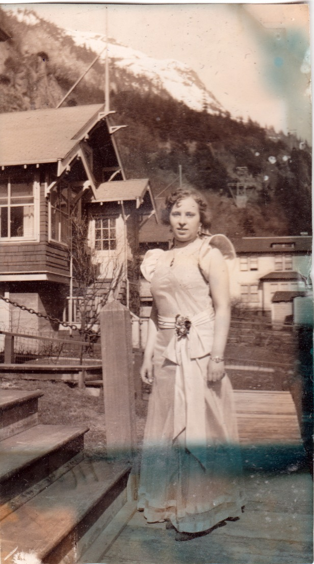 1930s woman in gown, Juneau, Alaska