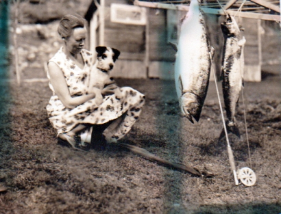 woman, dog, and fish, 1934 Alaska