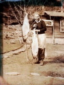 woman with salmon, 1930s