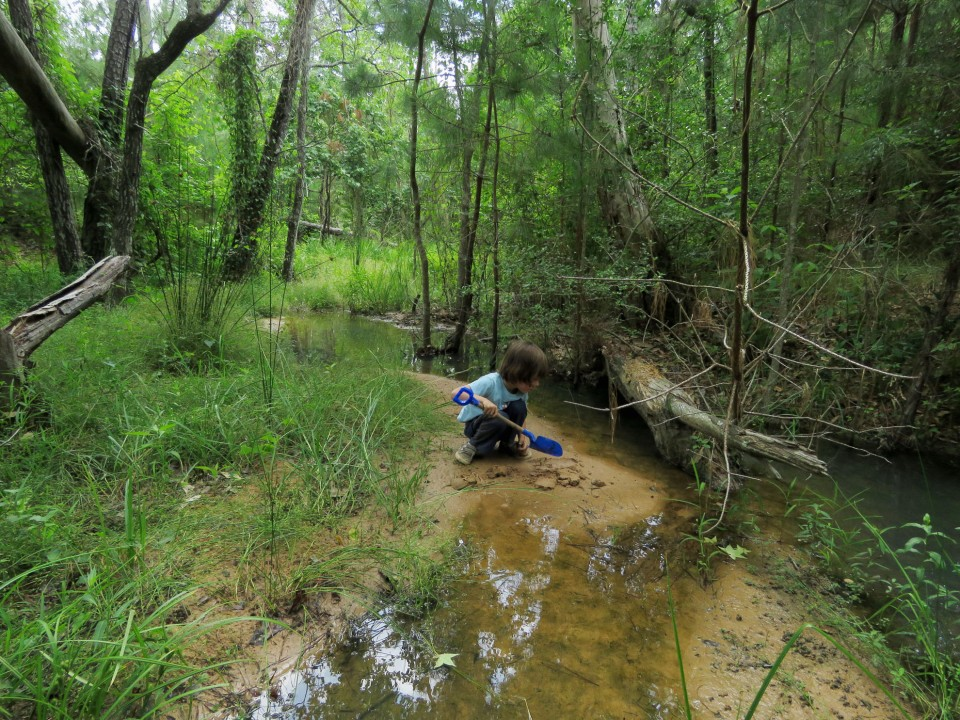 child digging in creek bed